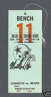 Mike Singletary signed Chicago Bears 1992 bench pass