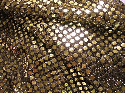 G05  *PER YARD* Shiny Black 6mm Round Shape Gold Sequins Fabric Dress Material