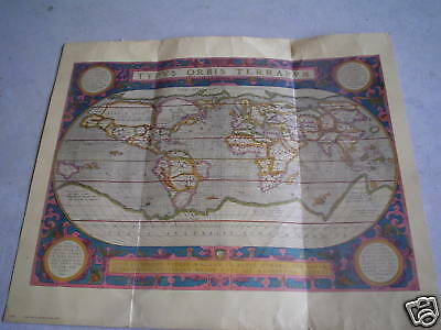 OLD Global Map by Abraham Ortelius 1590 Print LOOK