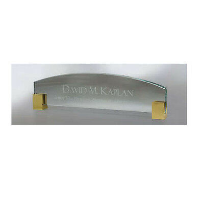 Personalized GLASS NAME PLATE BAR engraved desk office