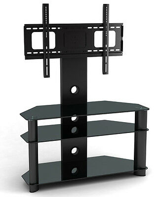 NEW Glass TV Stand TV Bracket for Plasma LCD TV Black