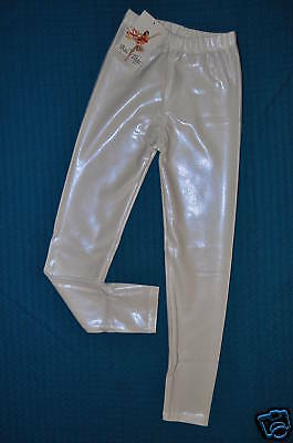 Nwt Child size Medium or Large Metallic white ankle leggings dance costume #1808