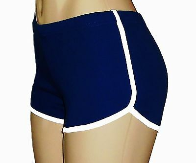 Navy Blue Retro Running Shorts with White Trim Small