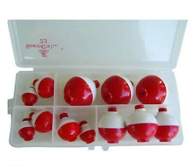 Fishing Floats Red & White 4 Sizes X 3 Pce +Tackle Box