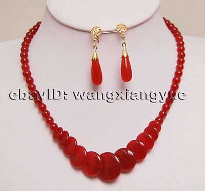 """Charming! Red Ruby Gemstone Jewelry Necklace Earring17"""""""