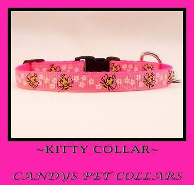 Pink Bumble Bees Cat-Kitten Safety Collar Bell & Charm