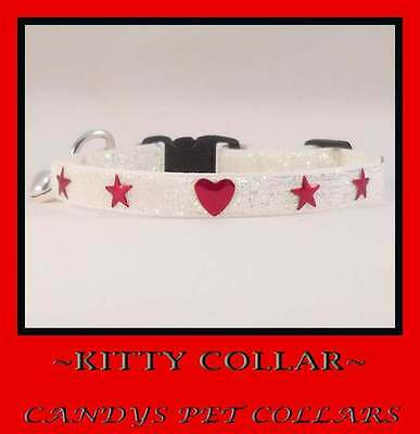 White Sparkle with Red  Hearts &Stars Cat-Kitten Collar