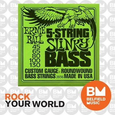 Ernie Ball 2836 Bass Guitar Strings 5-String Roundwound Regular Slinky 45-130