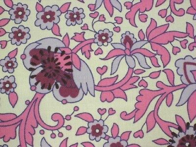 Twill Sewing Home Dec Fabric Bty Pink Mod Ornate Floral