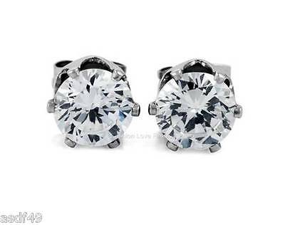 1 PAIR CZ CLEAR SQUARE OR ROUND MAGNETIC Clip-On EARRINGS STUDS FOR WOMEN & MEN