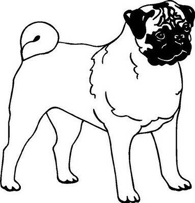 Pug Dog Vinyl Decal Car Truck Window Sticker