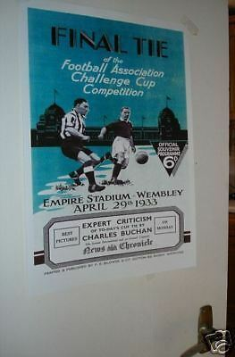 1933 FA Cup Final Poster of Programme Everton Man City