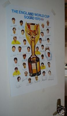 1970 Mexico World Cup England Poster with Autographs