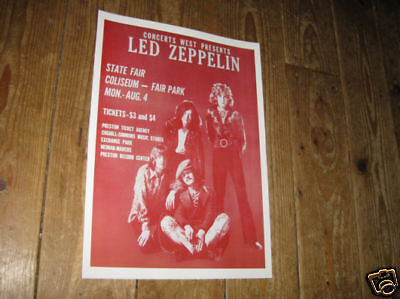 Led Zeppelin Repro Tour POSTER Fair Park