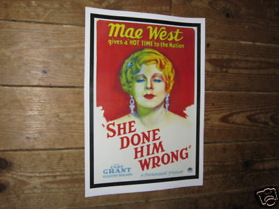 Mae West She Done Him Wrong Repro POSTER