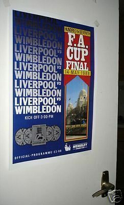 Wimbledon Liverpool 1988 Final Poster of Programme