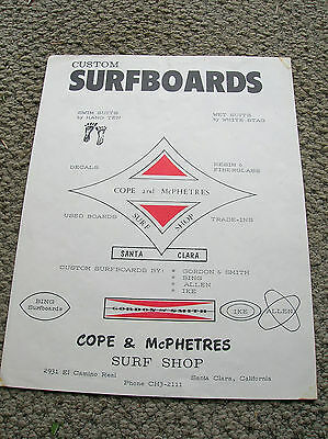 Vintage cope & mcphetres flyer RARE surfboard cali surf