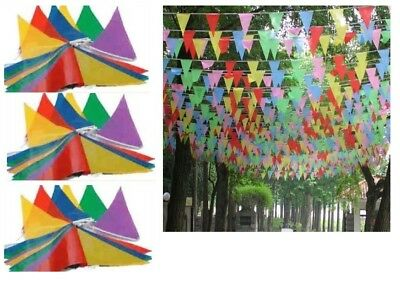 Fabric Multi Coloured Bunting Banner 8M Lomg 15 Flags Pennant Party Decoration