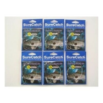 6 x Size 2/0 Surecatch Bounce and Search 30lb Fishing Rigs - Pre-Tied Rigs