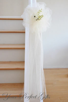 "9"" Ivory Tulle Net Wedding Pew Bows Bridal Decoartion"