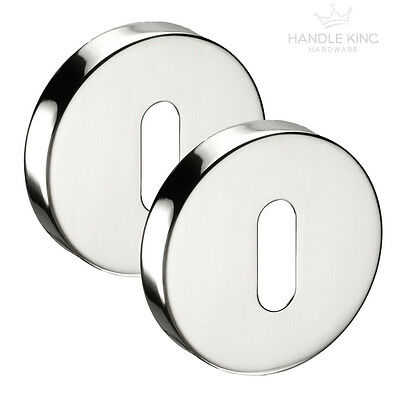 Polished Stainless Steel Standard Keyhole Covers Escutcheon Pairs (2) 10mm Thick