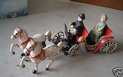 Vintage USA Made Cast Iron Horse Drawn Carriage LOOK