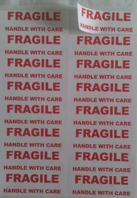 "80 stickers of LARGE ""FRAGILE HANDLE WITH CARE"" text"