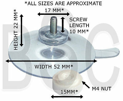 Packet of 10 x (52mm Threaded Screw Suction Cups with Separate Nut) FREE UK P&P