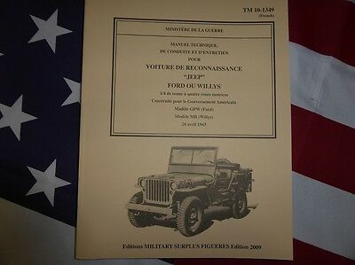 Revue manuel technique TM 10-1349 JEEP WILLYS / Ford de 1943 TRUCK WW2 MILITARIA