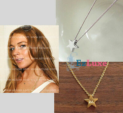 PERSONALIZED ENGRAVED INITIAL Mini Star Necklace simple small plain silver gold