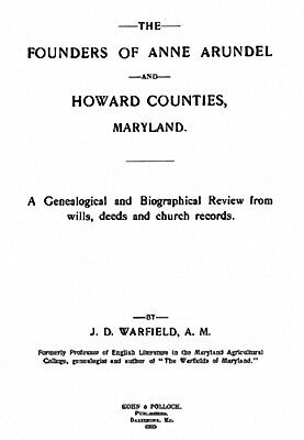 1905 Genealogy of Anne Arundel & Howard Co Maryland MD