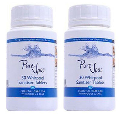 2 x Indoor Jacuzzi Whirlpool & Spa Bath Sanitiser Tablets Pack of 30 (Total 60)