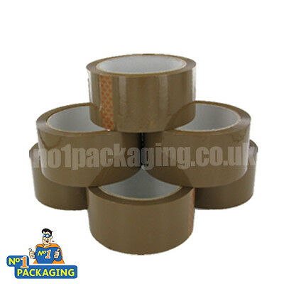 6 Rolls Quality Strong Brown Buff Parcel Packing Tape 48Mmx66M Boxes Bubble Wrap