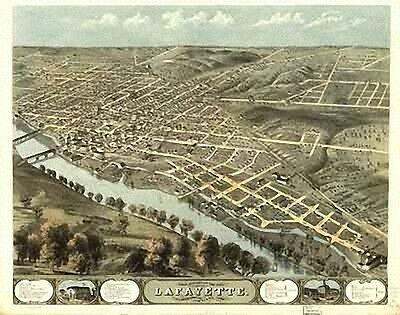 17 Antique Vintage Panoramic Maps of Indiana IN on CD