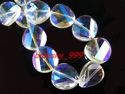 F&P 20pcs Faceted Glass Crystal Tile Bead 18mm Clear AB