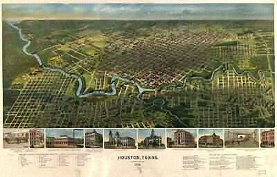 21 Antique Historic Panoramic Maps of Texas TX on CD