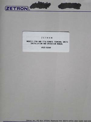 Zetron Model 1708 And 1716 Remote Terminal Units Installation/Operation Manual