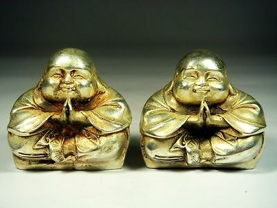 Pair Vintage Silver Plated Copper Crafted Seated Monk Boys Praying #11281505