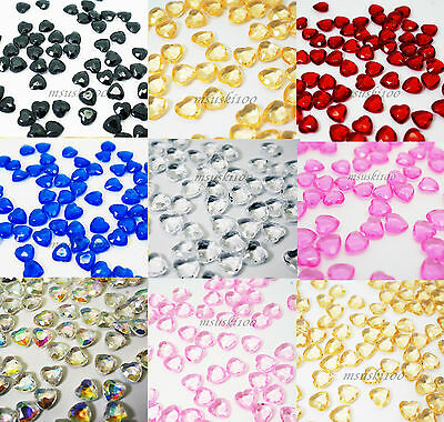 1000 TABLE DIAMOND HEARTS SHAPED CONFETTI CRYSTAL DIAMANTE SCATTER GEMS 1ct 6mm