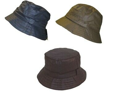Wax Bush Bucket Rain Hat Waxed Country Olive Navy Black Mens Ladies Uk Seller