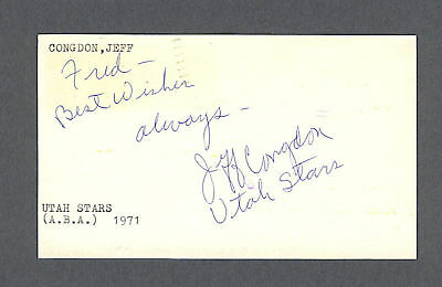 Jeff Congdon signed basketball 1970 government postcard