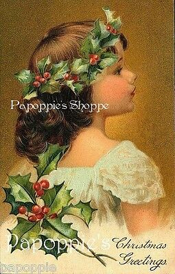 Christmas Fabric Block Vintage Holly Victorian Girl