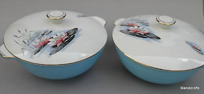 Alfred Meakin Lidded Round Serving Veg Bowl x 2 Water Lily Handles c1950s MEA305