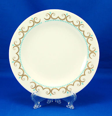 Iroquois Inheritance COTILLION Bread and Butter Plate 6.25 in. Gold Scrolls Aqua