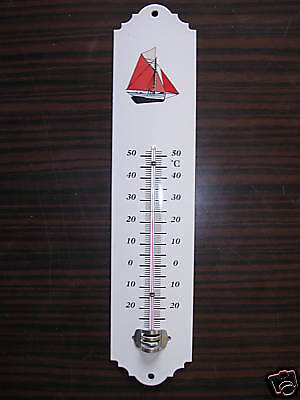 Thermometre  Emaille Motif Bateau Rouge Neuf Email