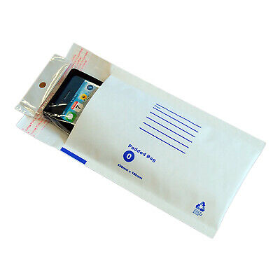 50x  Bubble Mailer #00 100x180mm White Padded Bag Envelope 100mm x 180mm