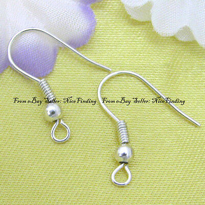 100pcs Silver plated Ball & Coil Earwires Earring Hook