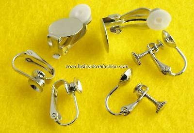 4 Pairs Silver Clip On Ball,Screw Back Earring Findings