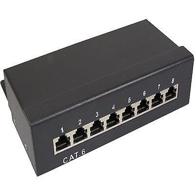 Patchpanel 8 Port Cat.6  Patchfeld Netzwerk gigabit Patch Panel RJ-45 LAN