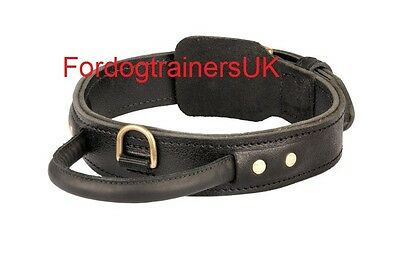 Leather dog collar with handle for strong dogs| large dog collar 1 3/4 inch wide